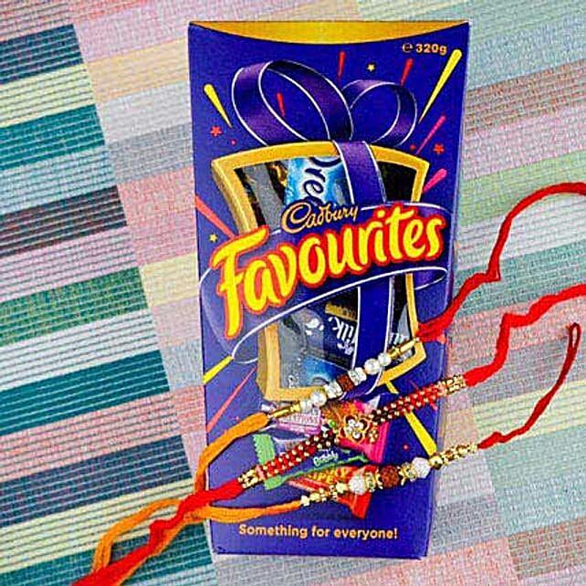 Three Hiro Rakhi Set With Cadbury Favourite