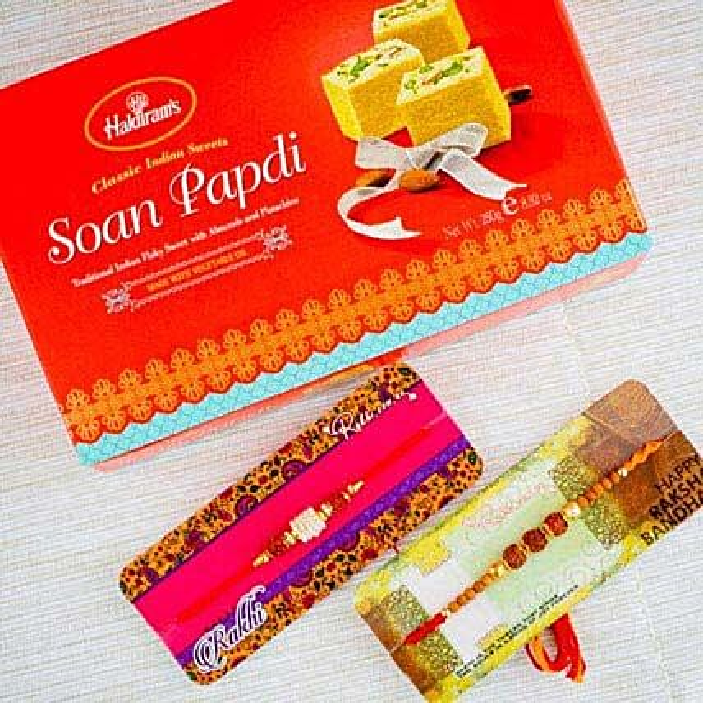 Two Pyari Rakhi Set With Soan Papdi