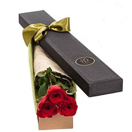 3 Red Roses in Gift Box