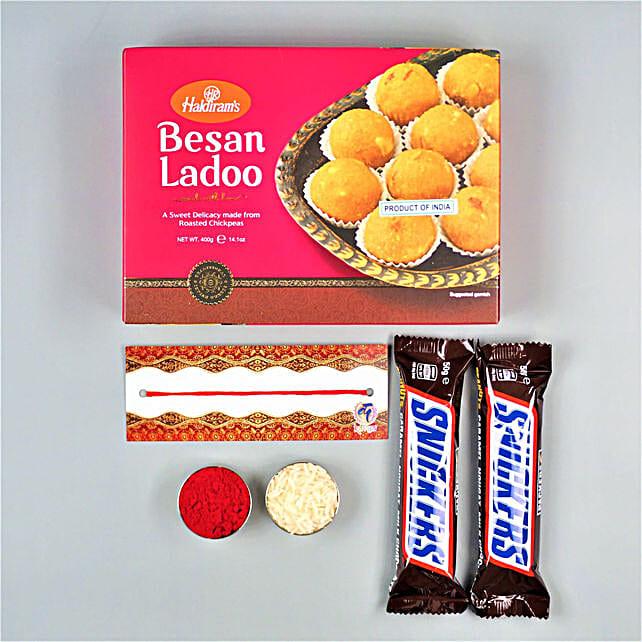 Sweet Bhaidooj Wishes With Besan Laddu And Snickers
