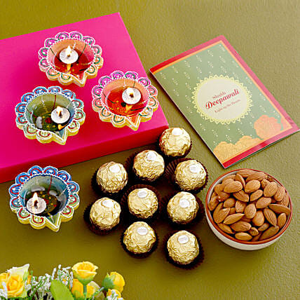 Diwali Greetings With Chocolates And Almonds
