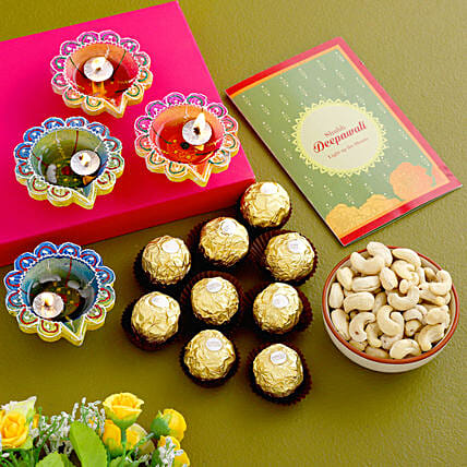 Diwali Greetings With Chocolates And Cashews:Diwali Gifts Delivery in Australia