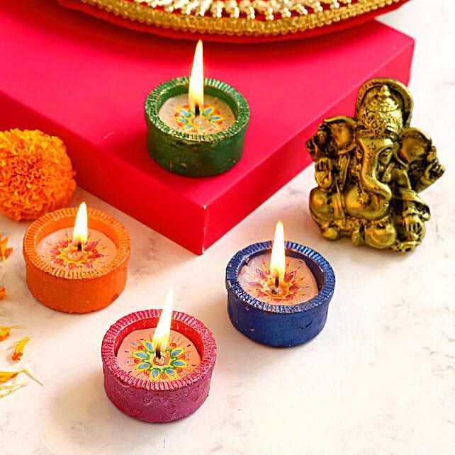 4 Tealight Diyas & Antique Ganesha Idol:Diwali Gifts Delivery in Australia