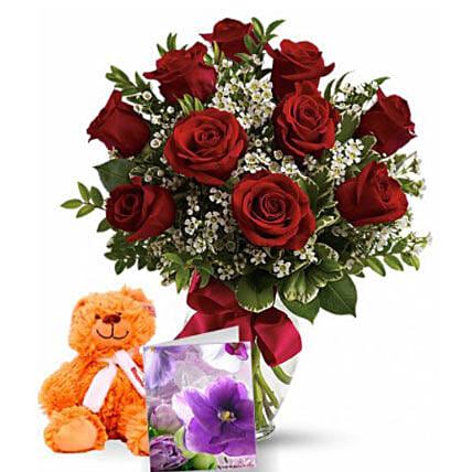Valentine Hamper Of Roses N Teddy