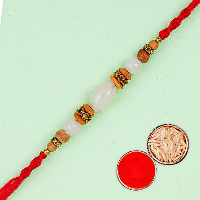 White And Golden Beads Rakhi:Gifts Offers for Raksha Bandhan Australia