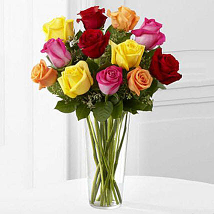 12 Bright Roses Arranged