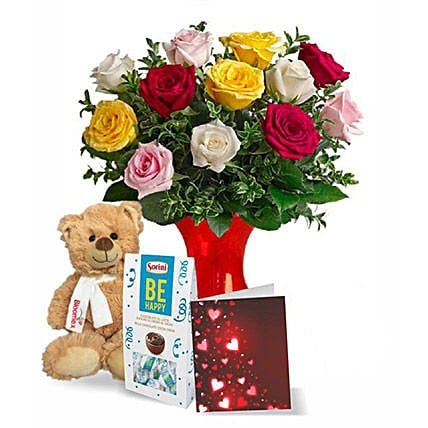 12 Mixed Roses N Teddy Combo:Flowers and Chocolates Delivery in Canada