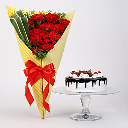 12 Red Carnations And Black Forest Cake