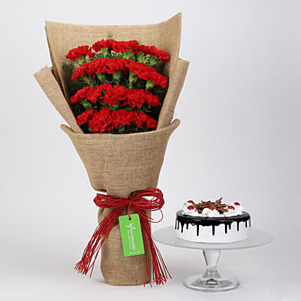 20 Red Carnations And Black Forest Cake:Cake Delivery in Canada