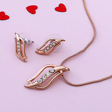 24 Karat Rose Gold Plated Estele Pendant Set:Designer Jewelry to Canada