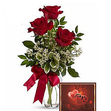 3 Red Roses With Greeting Card:Canada Flowers