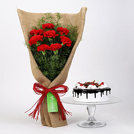 8 Red Carnations And Black Forest Cake