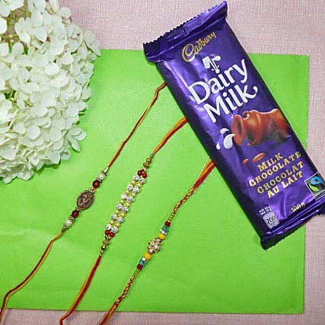 Beads Rakhi Set Of Three With Dairy Milk