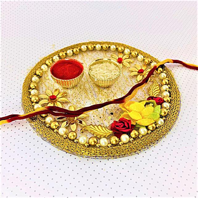 Beautiful Floral Designer Diwali Thali Combo:Send Bhai Dooj Gifts to Canada