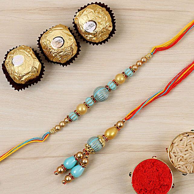 Blue Stone Bhaiya Bhabhi Rakhi And 3 Pcs Ferrero Rocher:Mauli Rakhi to Canada