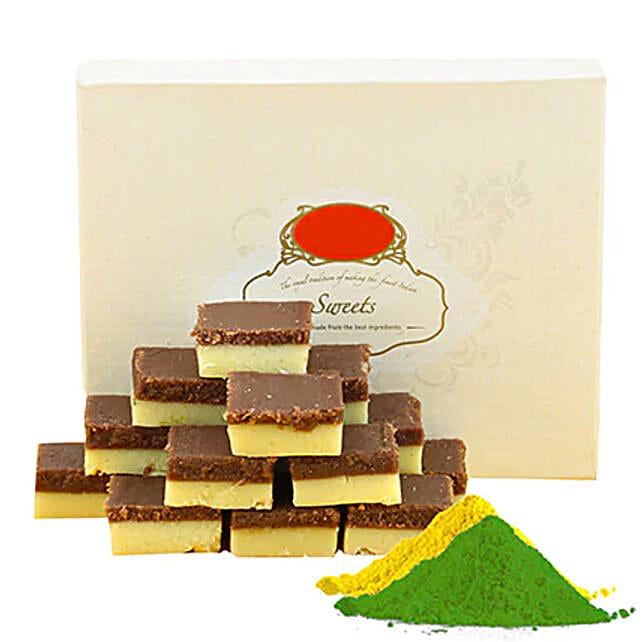 Chocolate Burfi With Gulal:Send Holi Gifts to Canada
