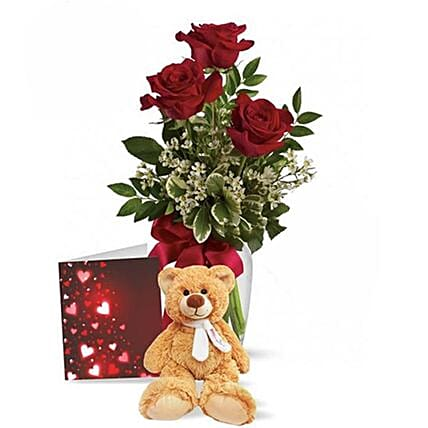 Cute Teddy Special Roses Gift:Mother's Day Flower Bouquets in Canada