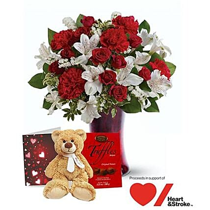 Enchanted Heart Valentine Gift Set:Flowers and Chocolates Delivery in Canada