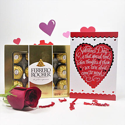 Ferrero Rocher With Greetings And Rose:Send Chocolate Day Gifts to Canada