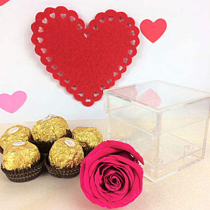 Forever Pink Rose N Chocolates:New Arrival Gifts Canada