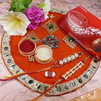 Golden Rakhi Set Of Two Thali With Lindt lindor