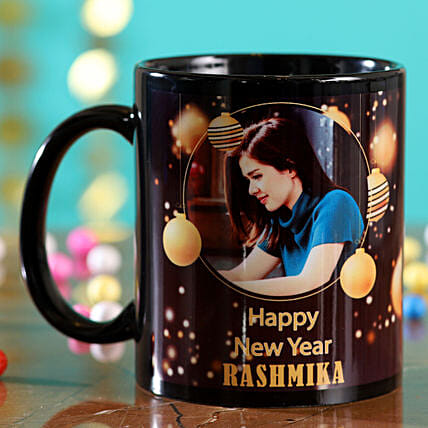 Happy New Year Personalised Black Mug:Send New Year Gifts to Canada
