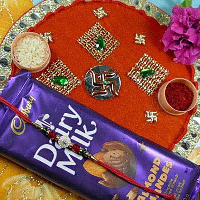 Impressive Rakhi Thali With Dairy Milk