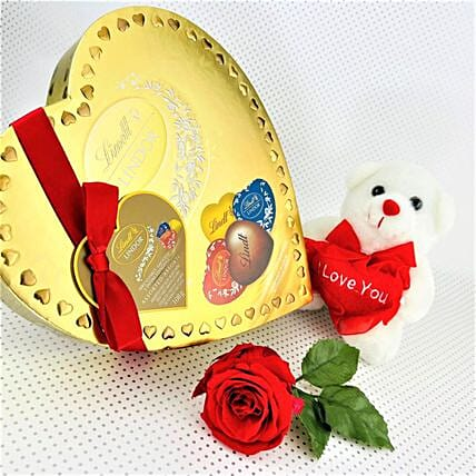 Lindt Assorted Chocolates With Love Teddy:Valentine Gift Combo to Canada