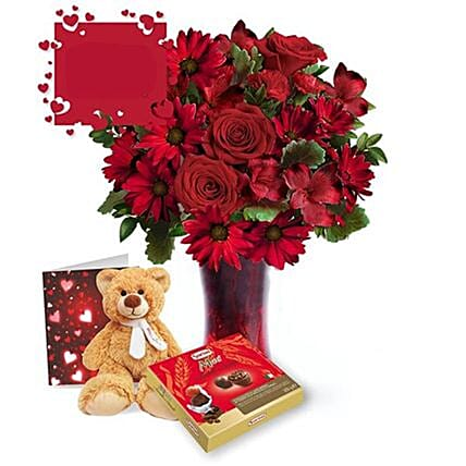 Mixed Flowers With Teddy Gift Set:Flowers and Chocolates Delivery in Canada