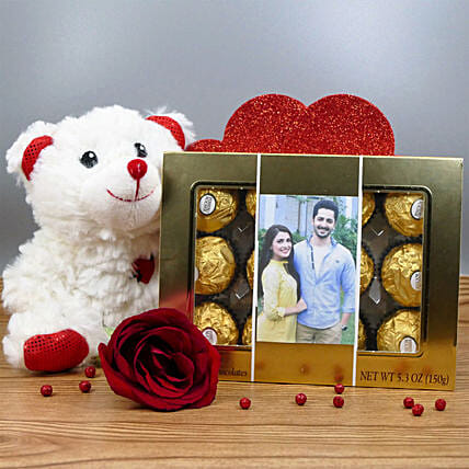 Personalized Chocolate Box With Teddy:Valentine Gift Combo to Canada