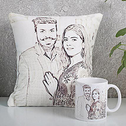 Personalized Couple Cushion N Mug Combo