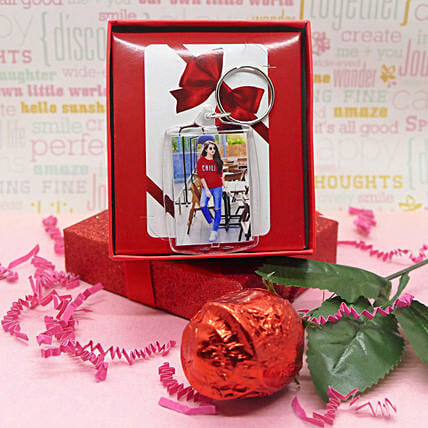 Photo Keychain With Chocolate Rose:Valentine Gift Combo to Canada