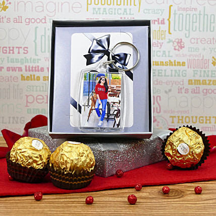 Photo Keychain With Chocolates