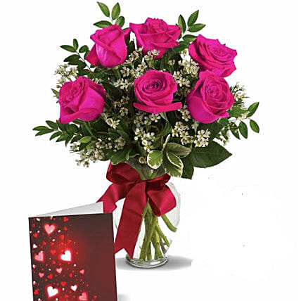 Pink Roses With Greeting
