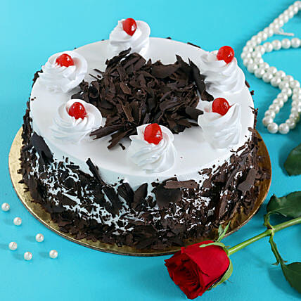 Rose N Black Forest Cake:Flower Delivery Canada