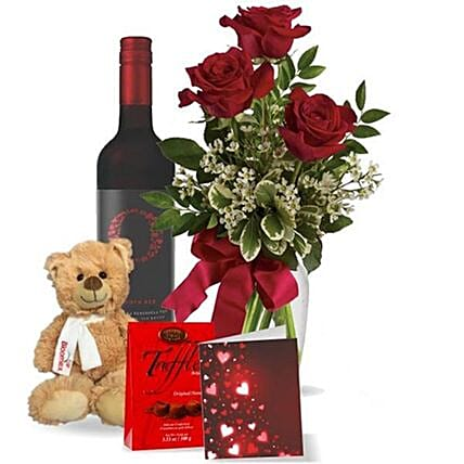 Roses And Wine For Love Gift Set:Chocolate Gift Baskets in Canada