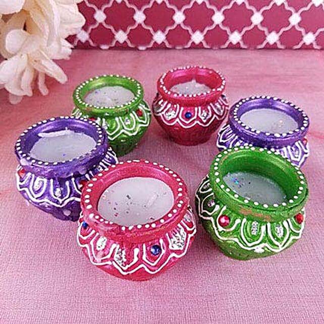 Set of 6 Colorful Diyas