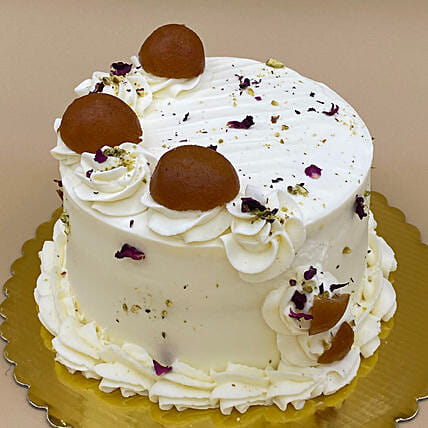 Super Delicious Gulab Jamun Eggless Cake:Send Birthday Gifts to Canada