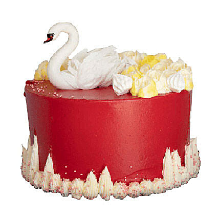 Swan Shaped Red Velvet Cake