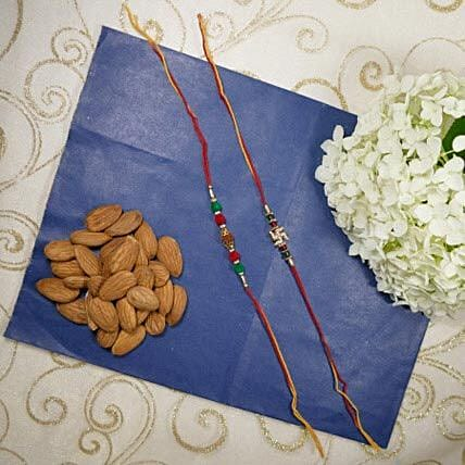 Traditional Rakhi Set Of Two with Almonds