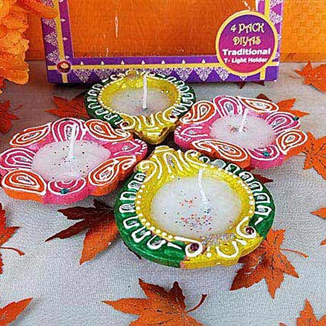 4 Colorful Diyas:Diwali Diyas