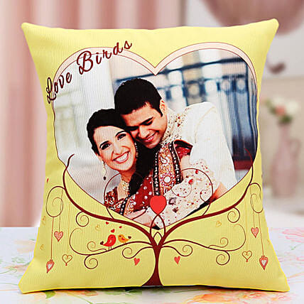 Lovebirds Personalized Cushion