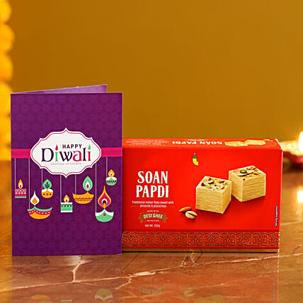 Soan Papdi With Diwali Card