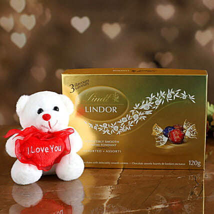 Golden Lindt Chocolate With Love Teddy