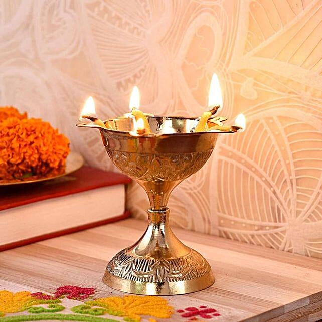 Engraved Bangla Brass Diya