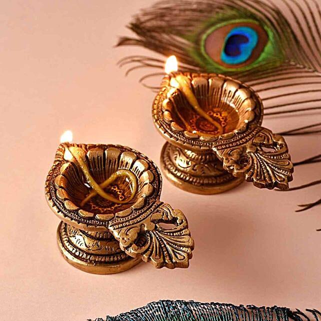 Tranquail Set Of 2 Brass Diyas