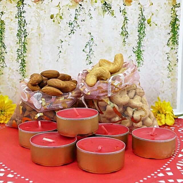 Diwali Designer Diya And Dry Fruits