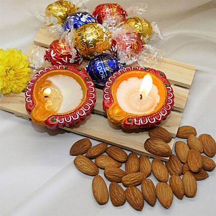 Diwali Wishes Almonds And Lindt Chocolates Combo:Send Chocolate to Canada