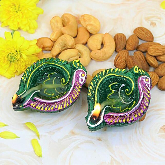 Handpainted Diyas And Dry Fruits:Diwali Dry Fruits