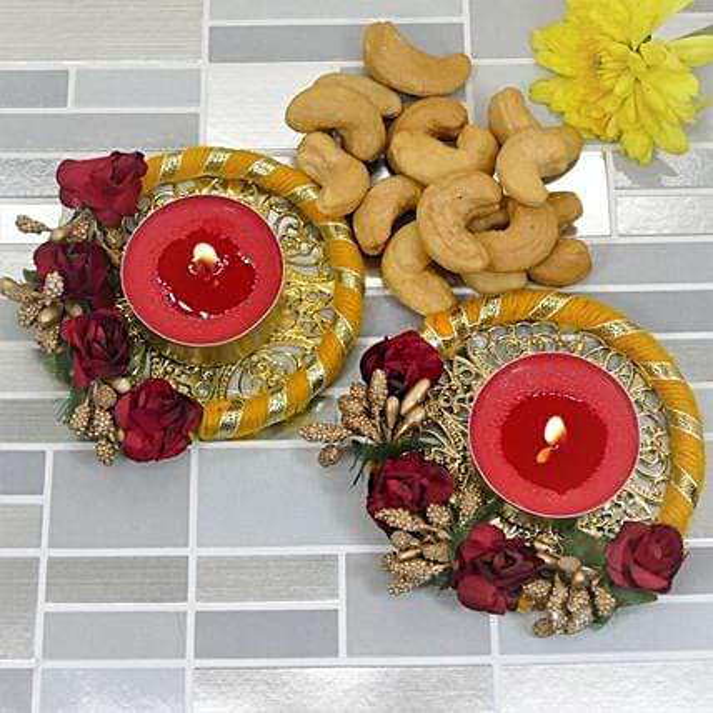 Happy Diwali Flower Diyas And Cashews